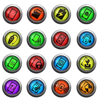 Conjunto de iconos de funciones y especificaciones de teléfono móvil o celular, teléfono inteligente