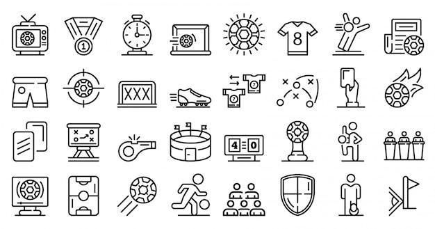 Conjunto de iconos de fútbol, estilo de contorno