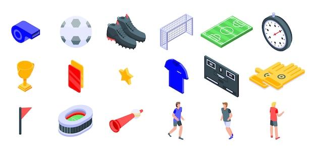 Conjunto de iconos de fútbol, estilo isométrico