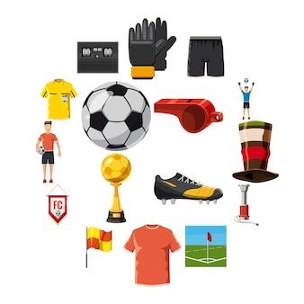 Conjunto de iconos de fútbol de fútbol, estilo de dibujos animados
