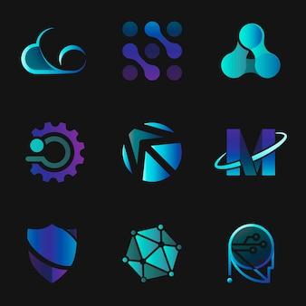 Conjunto de iconos futuristas de tecnología corporativa degradado