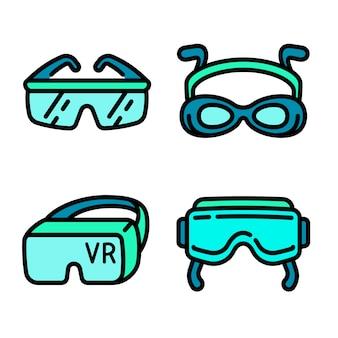 Conjunto de iconos de gafas, estilo de contorno