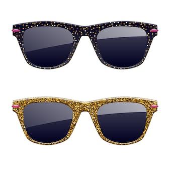 Conjunto de iconos de gafas de sol de brillo dorado. accesorios de gafas de moda.