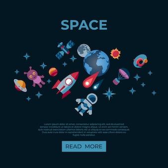 Conjunto de iconos de galaxia espacial y universo