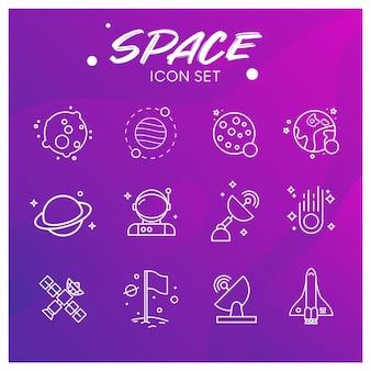 Conjunto de iconos de galaxia y espacio