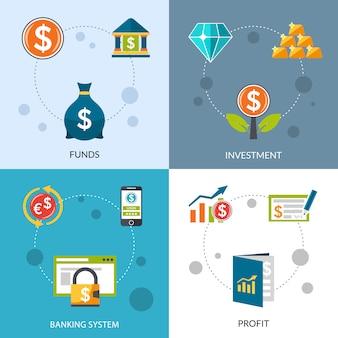 Conjunto de iconos de ganancias de fondos de inversión