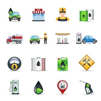 Conjunto de iconos de gasolinera