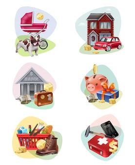 Conjunto de iconos de gastos financieros