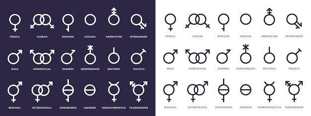 Conjunto de iconos de género