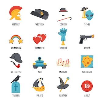 Conjunto de iconos de géneros de cine