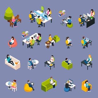 Conjunto de iconos de gente de coworking