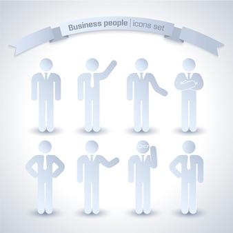 Conjunto de iconos de gente de negocios aislado y gris con pastos y sin corbata y barro diferente