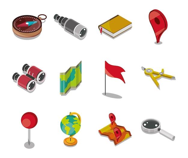 Conjunto de iconos geografía