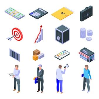 Conjunto de iconos de gerente de compras