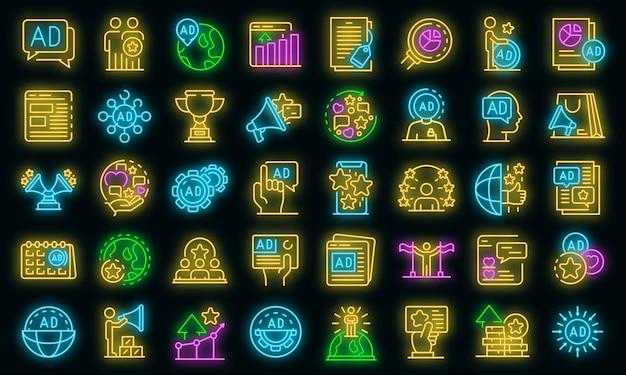 Conjunto de iconos de gerente de publicidad. conjunto de esquema de color de neón de los iconos de vector de gerente de publicidad en negro