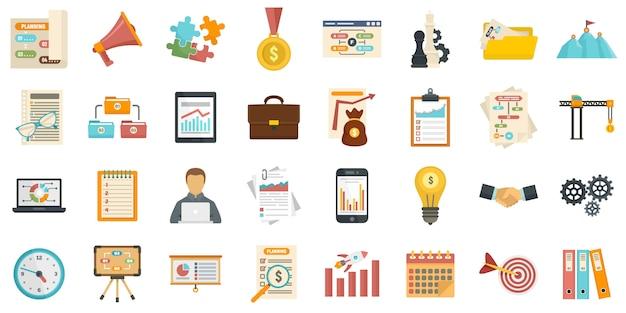 Conjunto de iconos de gestión de flujo de trabajo