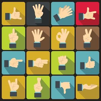 Conjunto de iconos de gesto de mano, estilo plano