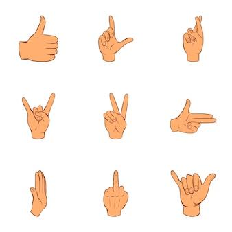 Conjunto de iconos de gestos, estilo de dibujos animados