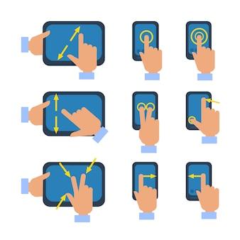 Conjunto de iconos de gestos de pantalla táctil