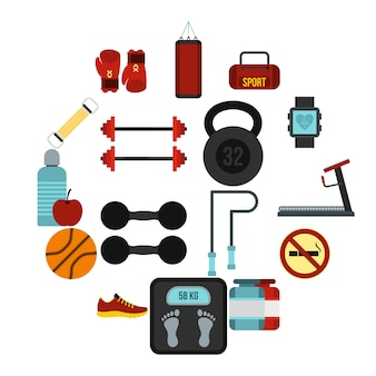 Conjunto de iconos de gimnasio, estilo plano
