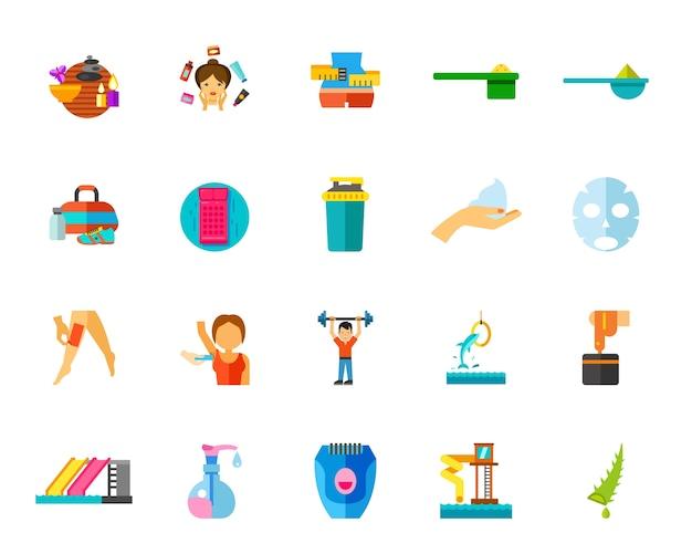 Conjunto de iconos de gimnasio y spa