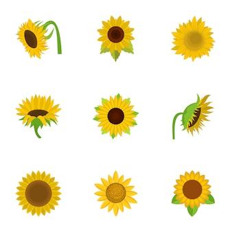 Conjunto de iconos de girasol, estilo de dibujos animados