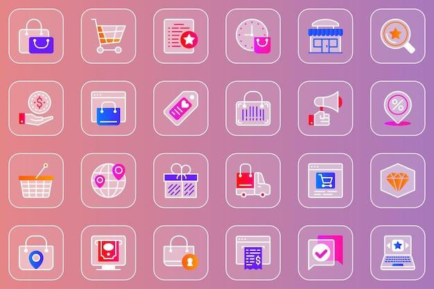 Conjunto de iconos de glassmorphic web de comercio
