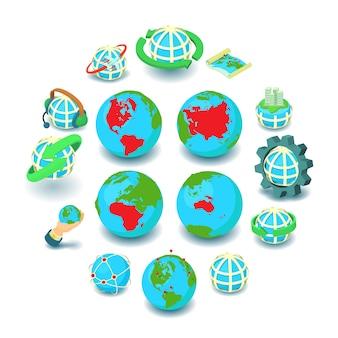 Conjunto de iconos de globalización, estilo de dibujos animados