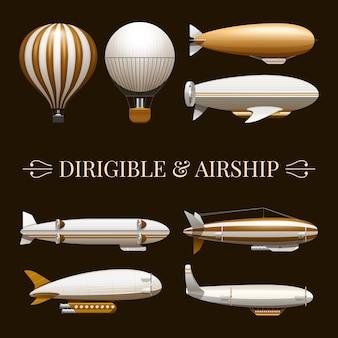 Conjunto de iconos de globo y dirigible