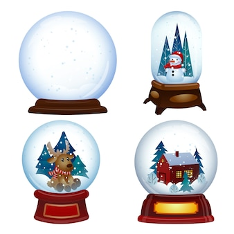 Conjunto de iconos de globo de nieve. conjunto de dibujos animados