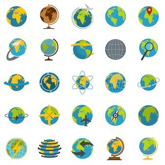 Conjunto de iconos de globo terráqueo