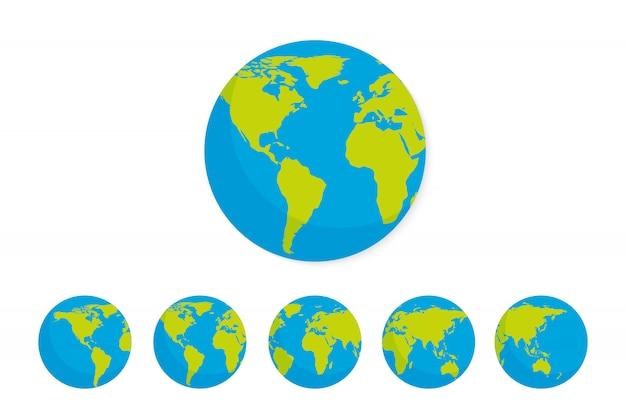 Conjunto de iconos de globo de tierra.
