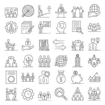 Conjunto de iconos de gobierno corporativo, estilo de contorno