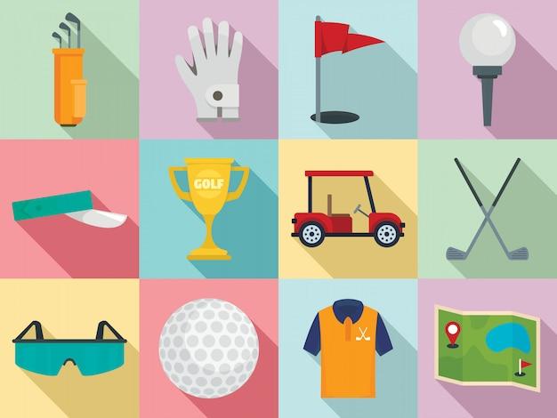 Conjunto de iconos de golf, estilo plano
