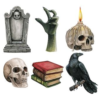 Conjunto de iconos góticos espeluznantes de halloween en acuarela