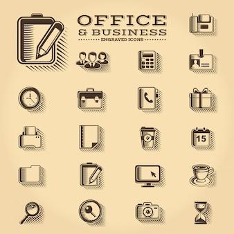 Conjunto de iconos grabados de oficina y negocios