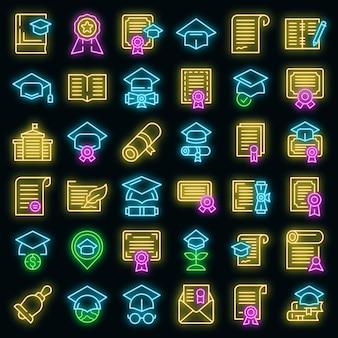 Conjunto de iconos de grado. esquema conjunto de iconos de vector de grado color neón en negro