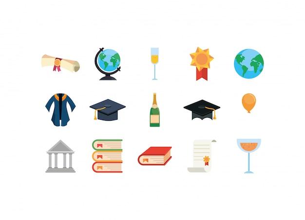 Conjunto de iconos de graduación aislado