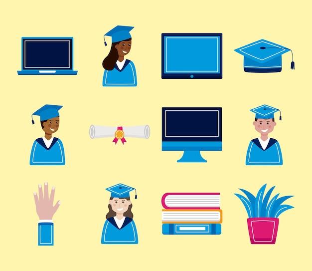 Conjunto de iconos de graduación virtual