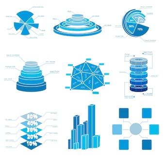 Conjunto de iconos de gráfico azul