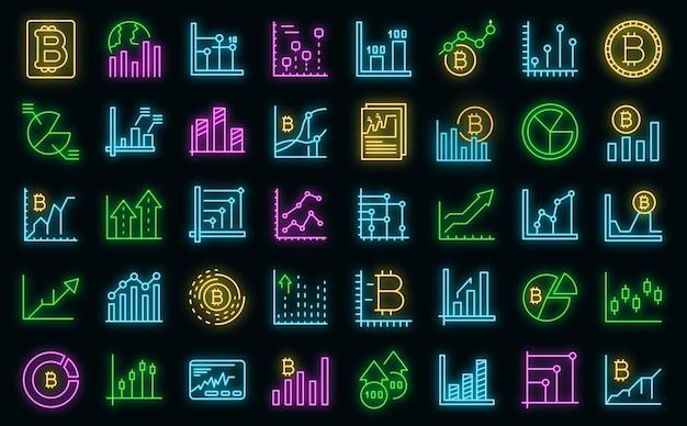 Conjunto de iconos de gráfico de bitcoin vector neón