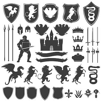 Conjunto de iconos gráficos decorativos heráldica