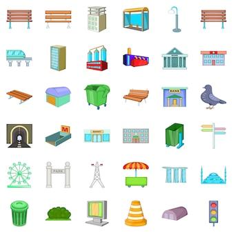 Conjunto de iconos de gran ciudad, estilo de dibujos animados