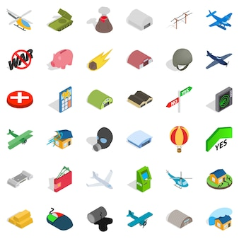 Conjunto de iconos de gran guerra, estilo isométrico