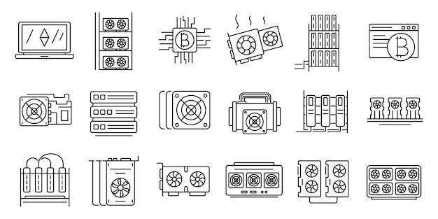Conjunto de iconos de granja minera, estilo de contorno