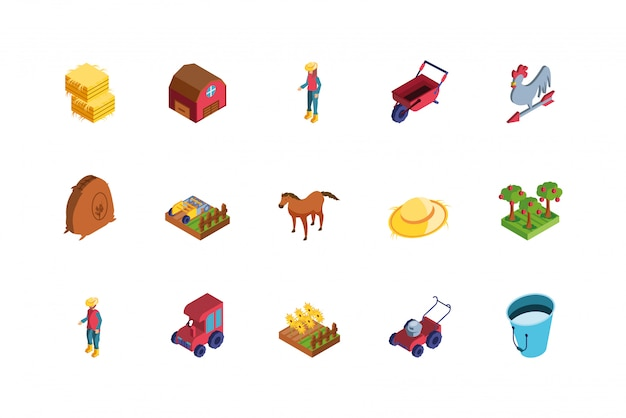 Conjunto de iconos de granja