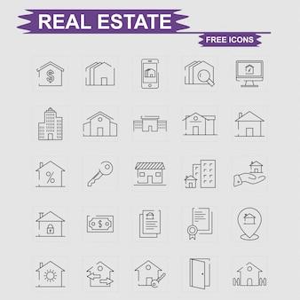 Conjunto de iconos gratis de bienes raíces
