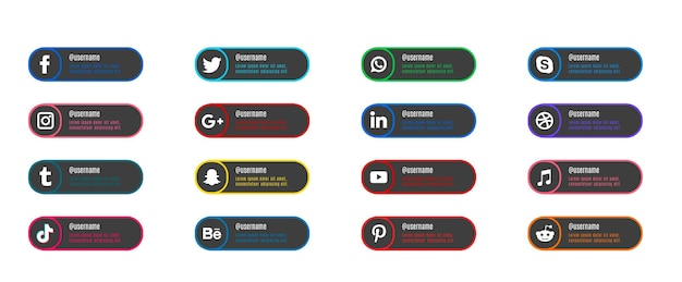 Conjunto de iconos gratuitos de sitios web sociales populares planos con banners