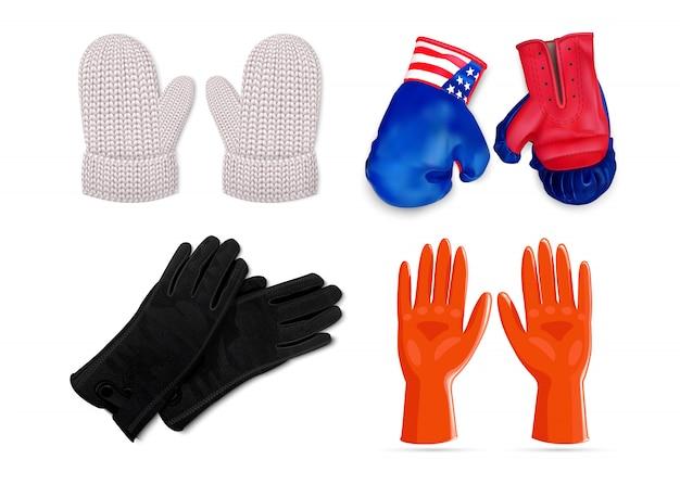 Conjunto de iconos de guantes