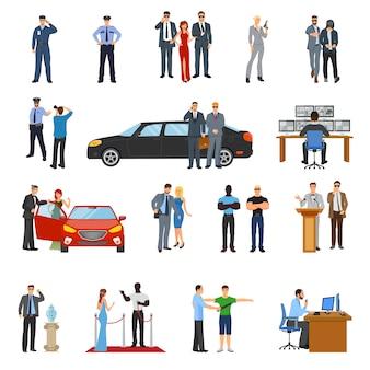 Conjunto de iconos de guardaespaldas